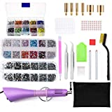 Rhinestones Tools - Hot fix Crystal Mixed Setter Applicator Wand Tool Kits Set with 7 Different Sizes Tips/Tweezers/2 Rhinestone Pickers/Brush Cleaning kit/4 Label/3 Boxes Hotfix Crystal Rhinestones