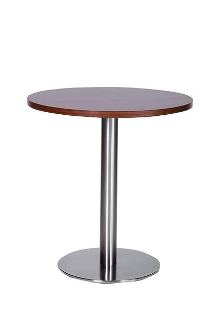 Daniella in acciaio INOX–Tavolo da pranzo rotondo con 70cm di base grande noce top