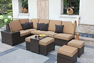 9-pc Deep Seating Sectional Patio Furniture Set - Sepia Flat Wicker/Canvas Cork