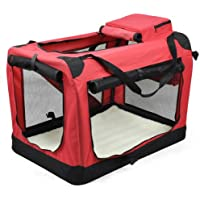 tinxs Blue & Red Dog Pet Puppy Fabric Portable Carrier Foldable Kennel Crate Bag M/L/XL (Red, XL)