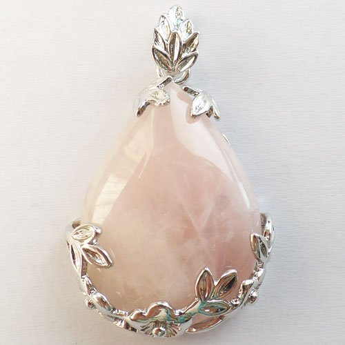 Yu Teng ® Wire Wrap Rose Quartz Teardrop Pendant Bead