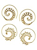 Classic Spiral Gold Tone Brass Earrings - (2 Pairs