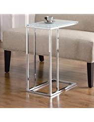 Coaster 900250 Contemporary Snack Table with Glass Top, Silver by Coaster Home Furnishings
