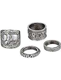 Habors Silver 4 Pieces Midi Ring Set For Women (JFRD3010)