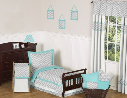 Turquoise and Gray Chevron Zig Zag Toddler Bedding 5 Piece Girl or Boy Set