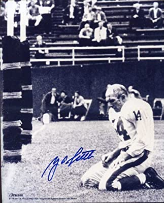 Y.A. Tittle Famous 1964 Photo Autographed/ Original Signed 8x10 Photo of the Kneeling Quarterback Bloodied and Without Helmet After Being Knocked Down Against the Pittsburgh Steelers in the Final Season of His Career - Tittle Played for the Baltimore Colt