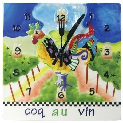 Westland Giftware Sharon Neuhaus Coq au Vin Ceramic Wall Clock, 9-Inch