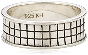 Dew Sterling Silver Men's Check Effect Ring 28078OX004 - Size V