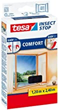 tesa Fliegengitter für bodentiefe Fenster, beste tesa Qualität, anthrazit, durchsichtig, 1,2m x 2,4m