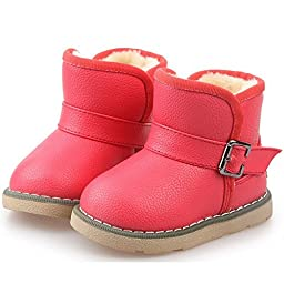 Pumud Kids Cute Buckle Thick Warm Winter Fur Boots (7 M US Toddler, Red)