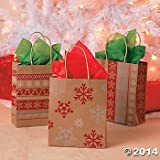 12 Red & White Nordic Print Craft Bags/Holiday Party Supplies/Christmas Gift Wrap/