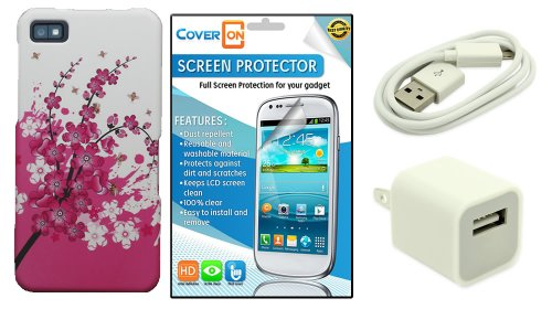 Coveron® Blackberry Z10 Hard Plastic Slim Case Bundle With Clear Anti-Glare Lcd Screen Protector & White Micro Usb Data Cable & White Wall Charger Adapter - Spring Flower