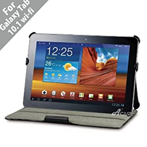 Acase Samsung GALAXY Tab 10.1 P7500 High Quality Premium Slim Leather Case Folio with built-in Stand for Samsung GALAXY Tab 10.1 Wi-Fi Only (Black)