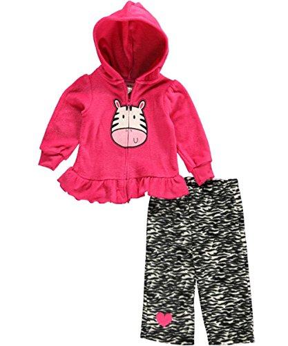 "Buster Brown Baby Girls' ""Zebra Fleece"" 2-Piece Outfit - Dark Pink, 3 - 6 Months front-895356"
