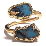 LUXDIVINE ( ラックスディバイン ) アメリカ の キュート ハンドメイド ターコイズ ラップ リング 日本 サイズ 約 16 号 ~ 17 号 ( USA サイズ 7.5 ) Turquoise Wrap Ring 17  トルコ石 ゴールド トルコストーン rings 海外 ブランド
