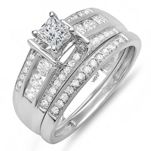 1.00 Carat (ctw) 10k White Gold Princess & Round Diamond Ladies Bridal Ring Set Matching Band