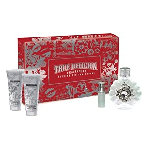 TRUE RELIGION by True Religion SET-EAU DE PARFUM SPRAY 3.4 OZ & SHIMMERING BODY LOTION 3 OZ & SHOWER GEL 3 OZ & EAU DE PARFUM SPRAY .25 OZ MINI for WOMEN