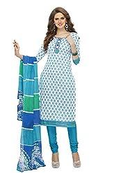 RK Fashion Womens Cotton Un-Stitched Salwar Suit Dupatta Material ( SANDHYA-PAYAL-2008-Blue-Free Size )