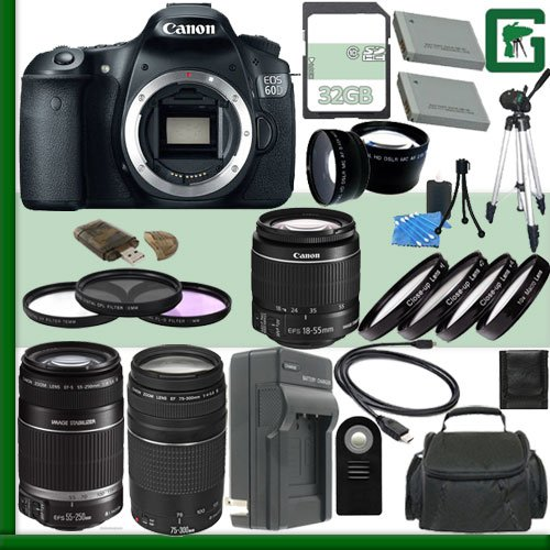 Canon Eos 60D Digital Slr Camera And Canon 18-55Mm Lens And Canon 55-250Mm Lens And Canon Ef 75-300Mm Iii Lens + 32Gb Green'S Camera Package 2