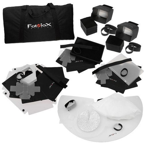 Fotodiox Pro Ultimate Flash Modifier Kit, Includes: 1- Beauty Dish, 2- Softboxes, 1- Light Grid, 2- Snoot, 1- Pop-up Flash Diffuser for Canon Flash Speedlite 600EX-RT, 580EX II, 430EX II, 380EX, 270EX, 270EX II, 540, 550EX, 300TL