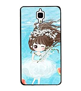 Fuson Premium 2D Back Case Cover Cute girl with water melon With Multi Background Degined For Xiaomi Redmi Mi4::Xiaomi Mi 4