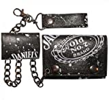 Official JACK DANIELS Wallet W/ Chain OLD NO. 7 All Over Trifold Logo Gift