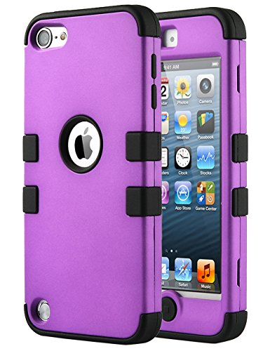 iPod Touch 6 Case,iPod Touch 5 Case,ULAK [Colorful Series] 3 in 1 Anti-slip iPod Touch Case Hard PC+Soft Silicone Hybrid Dust Scratch Shock Resistance Cover for iPod touch 5 6th Gen (Purple / Black) (Colorful Ipod Touch Cases compare prices)