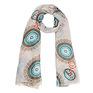 8Years Damen Elegant Indische Art Voile Schal Herbstschal Winterschal Wickelschal Tuch Stola in Beige Braun Blau 180x110cm