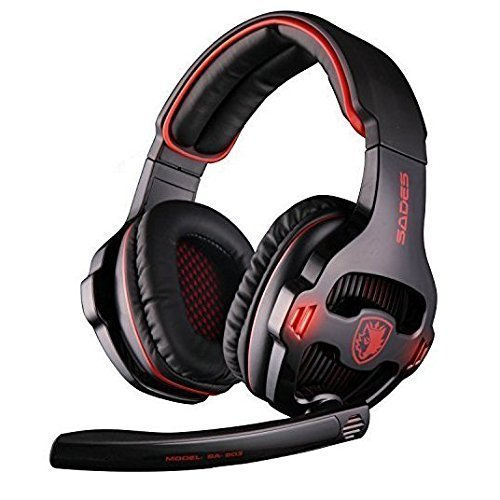 SADES SA903 7.1 Surround Sound USB PC Stereo Gaming Headset with Microphone LED light (Black)