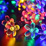 LUCKLED Flower Outdoor Solar String Lights, 21ft 50 LED Multi-Color Fairy Blossom Christmas Lights Decorative Lighting for Indoor, Home, Garden, Patio, Lawn, Party and Holiday Decorations