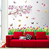 Walplus Huge Bird Flowers Tree Butterflies Children Kids Girls Wall Stickers Mural Paper