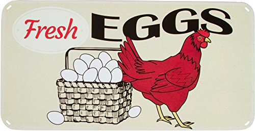 Trademark Innovations SIGN-CHEN-RED Chicken & Eggs Vintage Retro Tin Sign 15.7