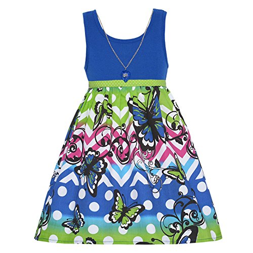 Big Girls Dark Blue Necklace Heart Butterfly Striped Printed Dress 7-14