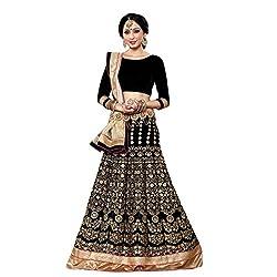 Triveni Velvet Lehenga Choli (TSSHFHK2810_Black)
