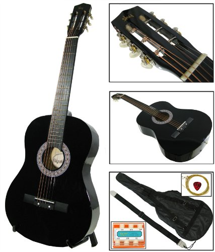 New Black Acoustic Guitar W/ Accessories Combo Kit Beginners