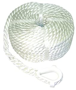 Buy Invincible Marine 50-Foot Twisted Nylon Anchor Line, 3 8-Inches by 50-Feet, White by Invincible Marine