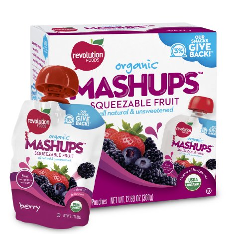 Revolution Foods Organic Mashups Squeezable Fruit, Berry, 4-Count Mashups (Pack of 6)