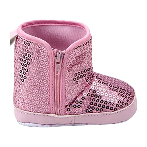 Weixinbuy Baby Girl Anti Slip Soft Sole Sequins Zipper High Boot Pink 8-12M front-37721