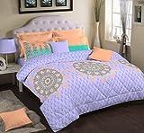 Portico New York Nishka Lulla Bedsheet with 2 Pillow Covers - King Size, Aqua Green