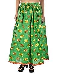 Aura Life Style Women's Elephant & Camel Rajasthani Printed Cotton Skirt (ALSK2042P, Green, Free Size)
