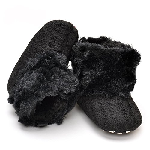 LiveBox Infant Baby Cotton Knit Premium Soft Sole Anti-Slip Mid Calf Warm Winter Prewalker Toddler Boots (M: 6~12 months, Black)