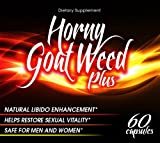 Horny Goat Weed (Epimedium) 1000mg Supplemented with Maca, Tongkat Ali, L Arginine, Saw Palmetto, Panax Ginseng, L-Dopa, and Muira Puama - Horny Goat Weed Pro Is Formulated to Boost Libido for Both Men & Women and Help Increase Male Performance & Stamina