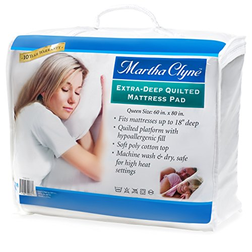 Big Save! Queens Size Hypoallergenic Quilted Stretch-to-Fit Mattress Pad By Martha Clyne, 10 Year Wa...