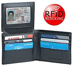 RFID Blocking Leather Wallet for Men, Multi Card Travel Bifold Sleek and Stylish Gift, High Quality Genuine Leather,