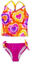 Speedo Girls 7-16 Tye Dye Love Scrunchy Back Tankini Set Swimsuit, New Blush, 16