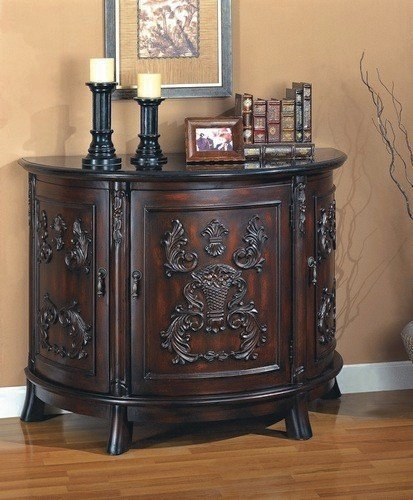 Cheap Cherry finish wood bombe chest console table with black marble top (B000XBROSM)