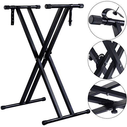 adjustable-music-keyboard-electric-piano-x-stand-metal-dual-tube-standard-rack-folds-flat-for-easy-s