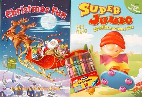 Christmas Coloring & Activity Books and Crayons - 200 pages each!