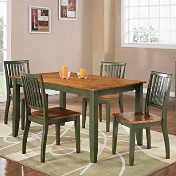 Steve Silver Candice 5 Piece Rectangular Dining Room Set in Oak & Green