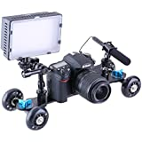 """Neewer® 14""""/35cm Tabletop Mobile Rolling Slider Dolly Car Skater Video Track Rail for LED Light/Microphone/Flash Light and Other Large Digital SLR Cameras & Video Camcorders with 1/4"""" Thread (Blue)"""